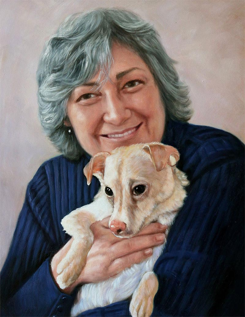oil portrait of a lady and her dog