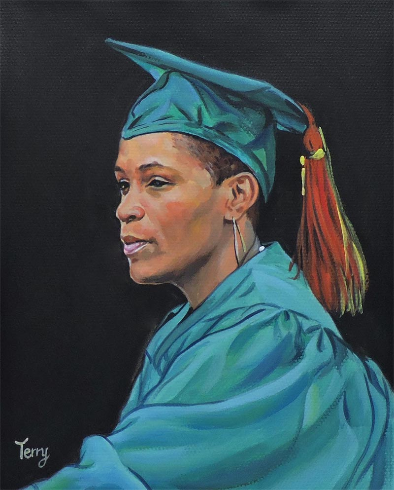 an oil painting of a graduate student