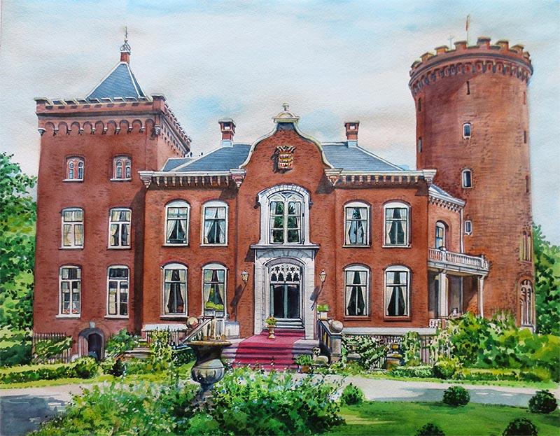 custom watercolor painting Sterkenburg castle in Driebergen
