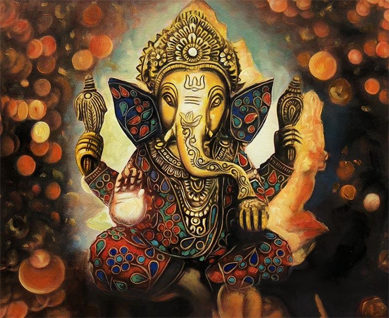 custom oil painting of Indian god Ganesh
