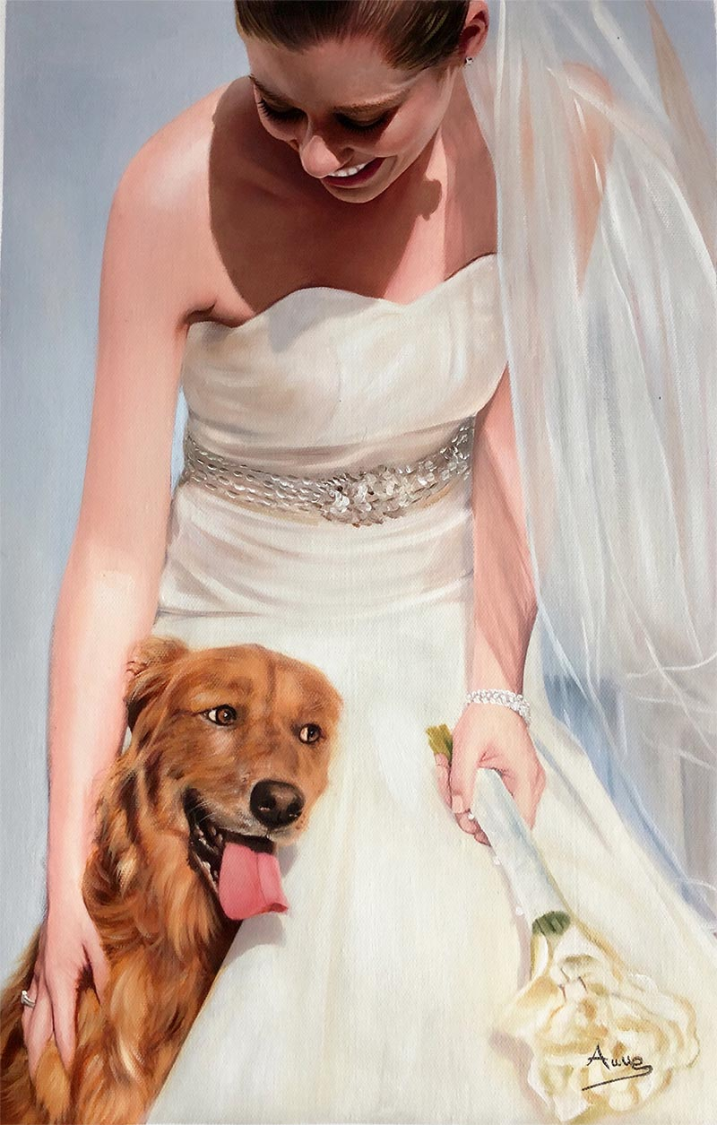 custom oil painting of woman on wedding day with dog