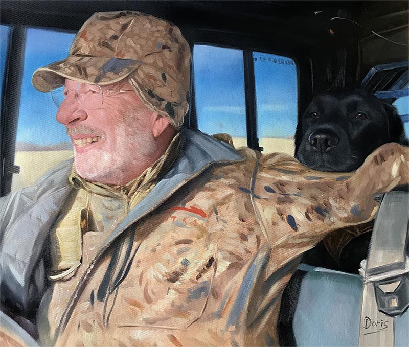 custom oil painting of father and dog bonding