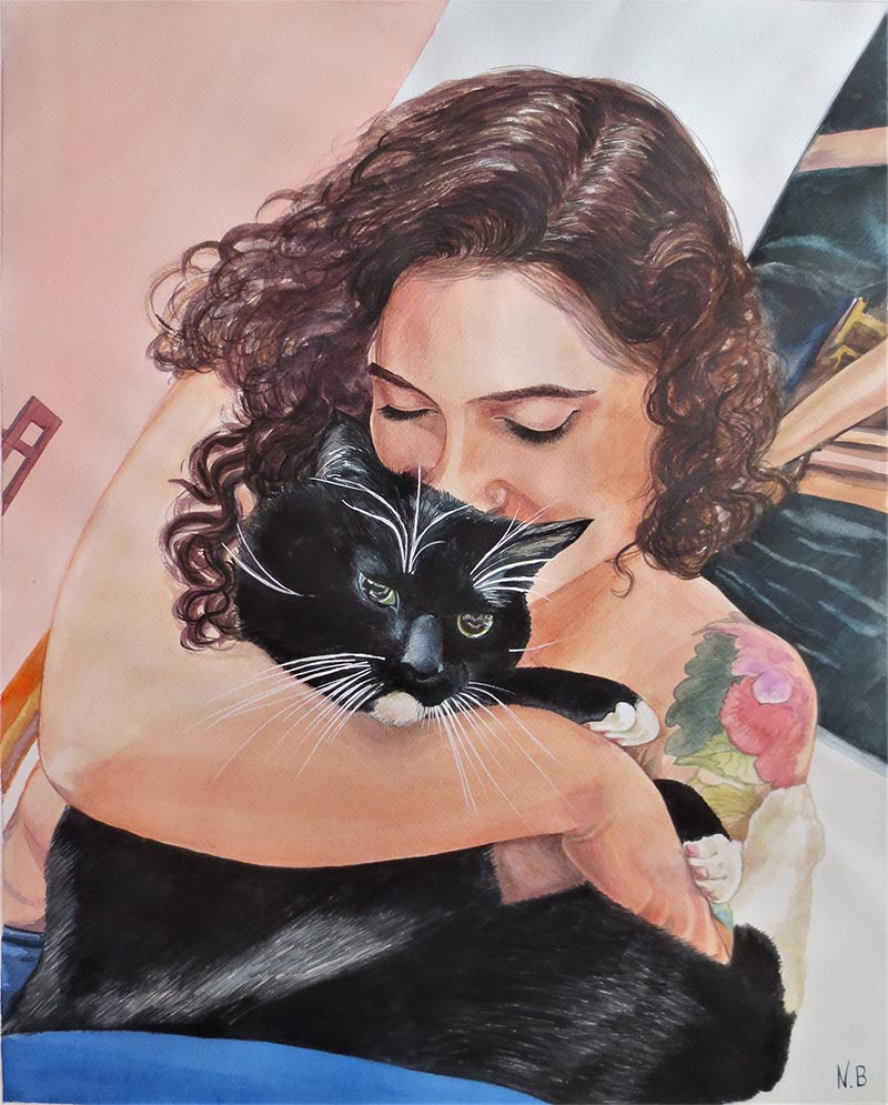 watercolor painting of tattoo girl hugging black cat