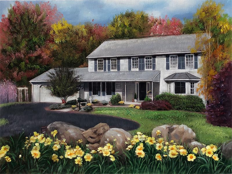 Handmade oil painting grey house