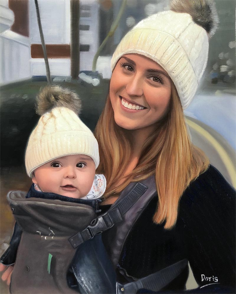 an oil painting of mother and her child outside
