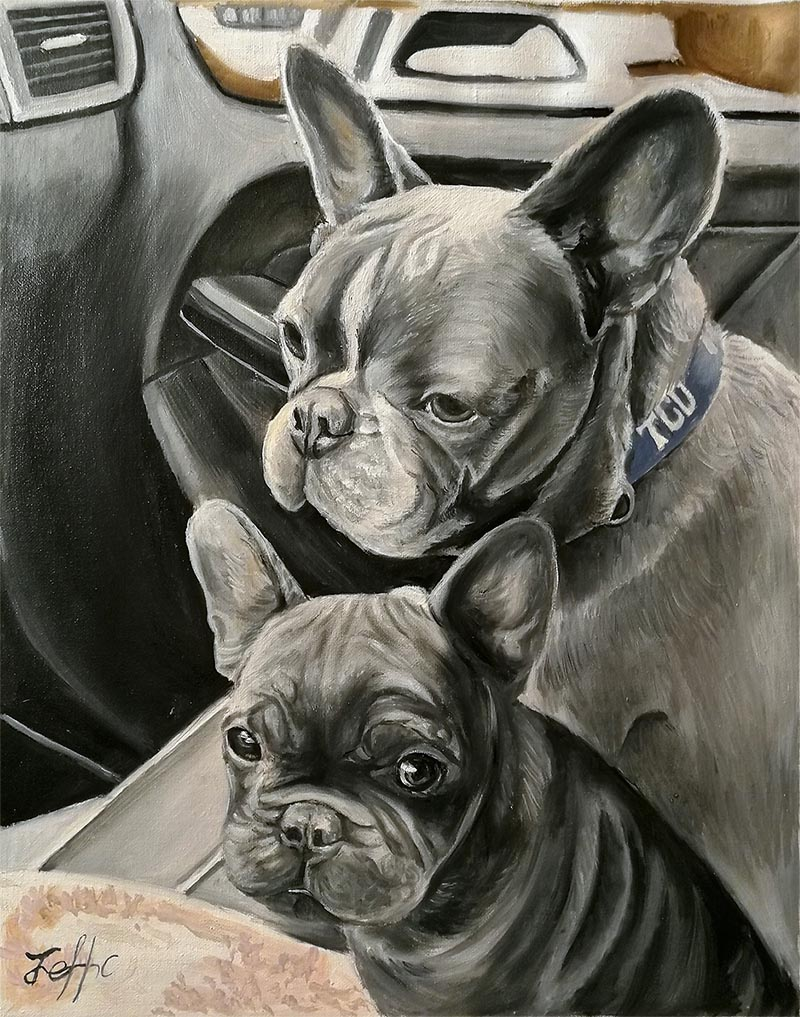 handmade oil painting of two black french bulldogs