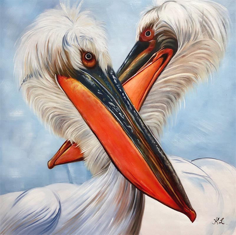 Custom handmade oil painting of birds