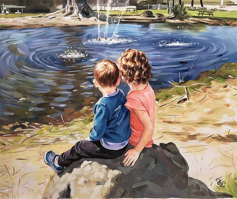 portrait of two children next to a lake pastel