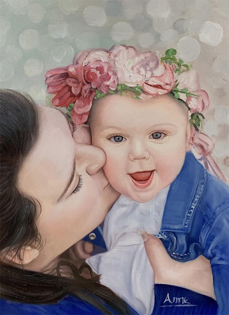 an oil panting of mother kissing daughter with flower crown