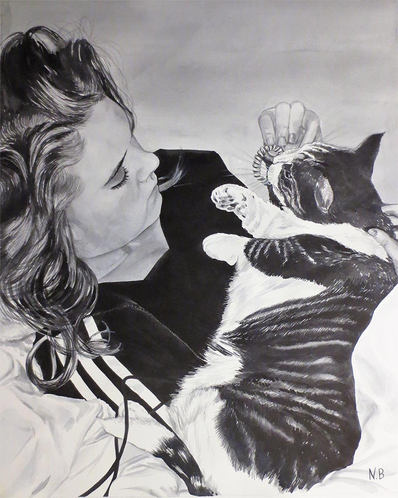 black and white watercolor painting of girl with her cat