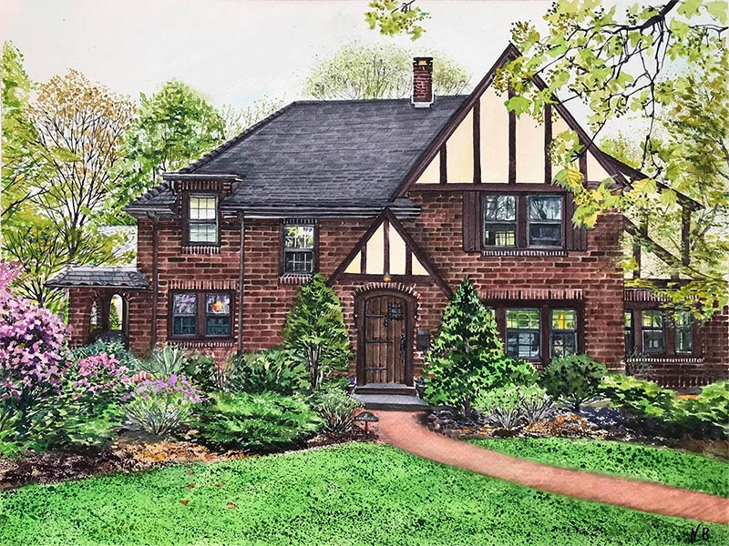 custom watercolor painting of brick house with purple flower