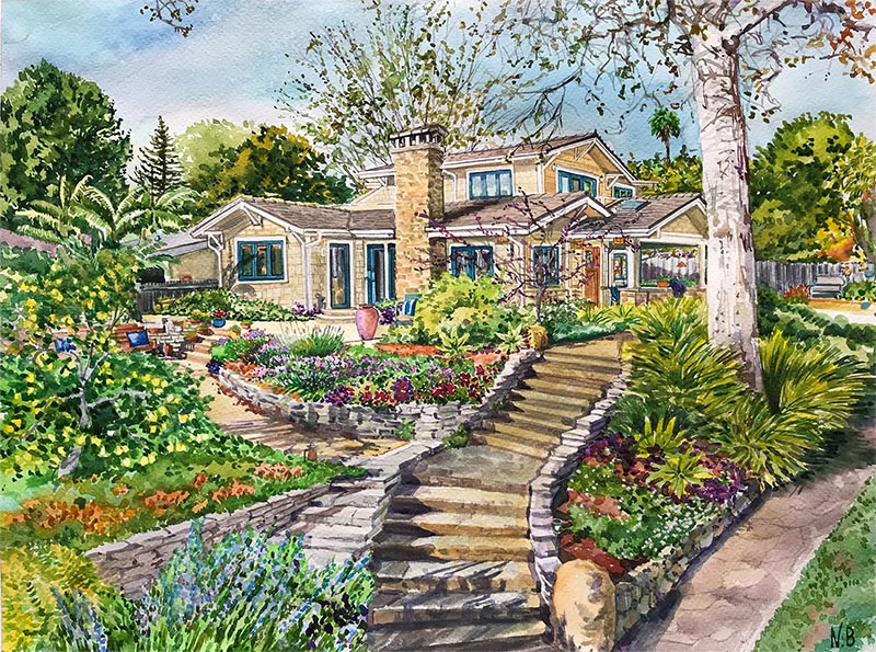 watercolor painting of huge front yard surrounding house