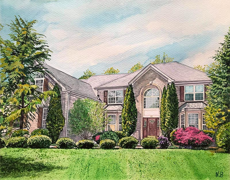 custom watercolor painting of house surrounded by trees