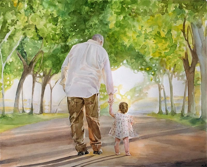 watercolor portrait of man holding child's hand in nature