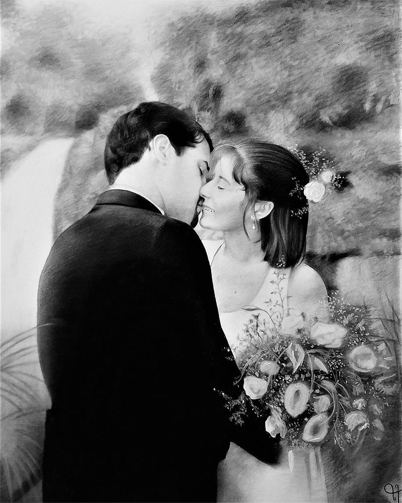 wedding charcoal portrait