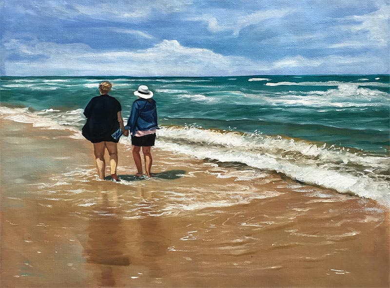 a custom oil painting of friends at the beach