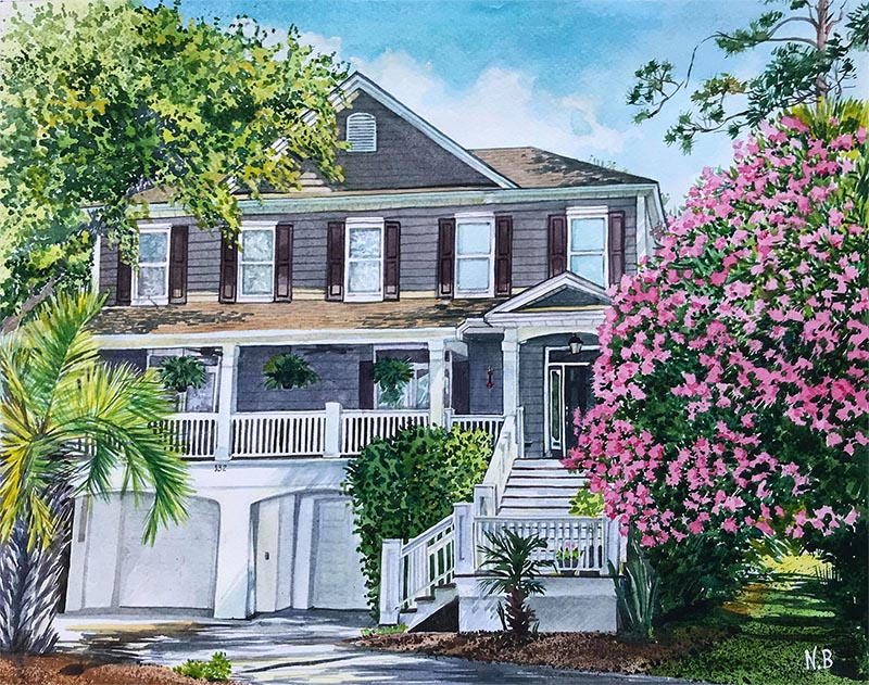 custom watercolor painting of house with pink roses