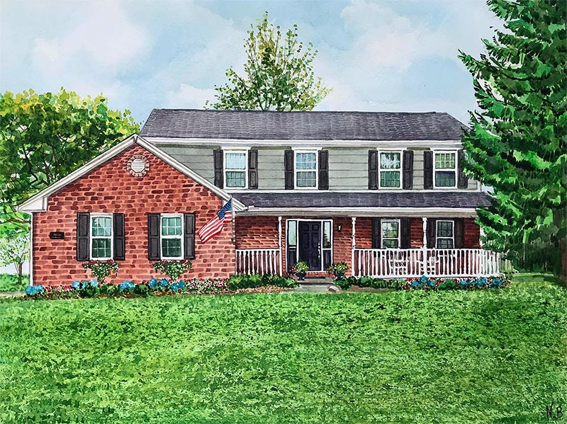 custom watercolor painting brick house with American flag