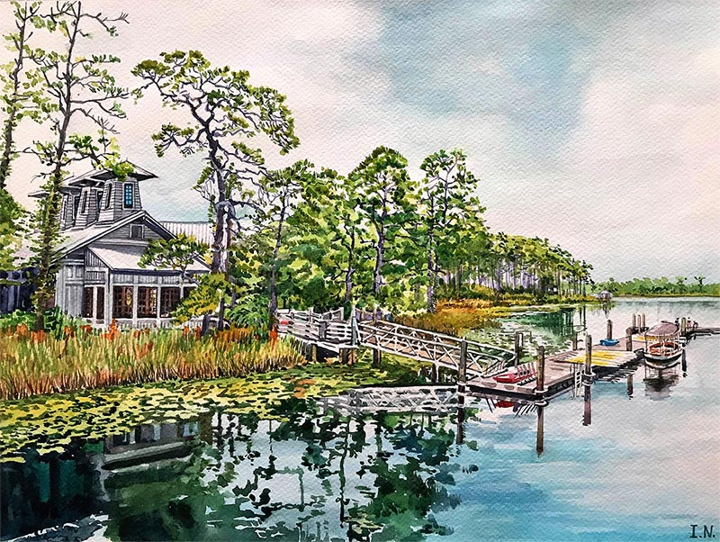 custom watercolor painting of a house by boat pier