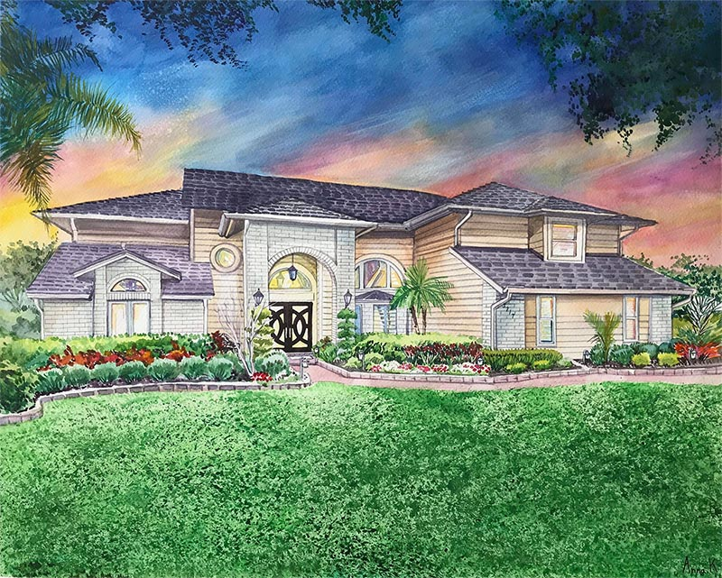 custom watercolor painting house during sunset