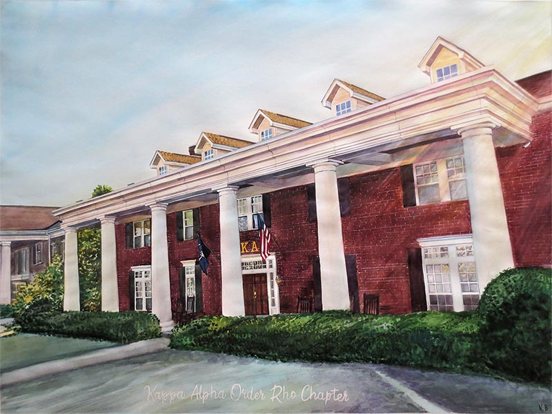 custom watercolor painting of sorority house