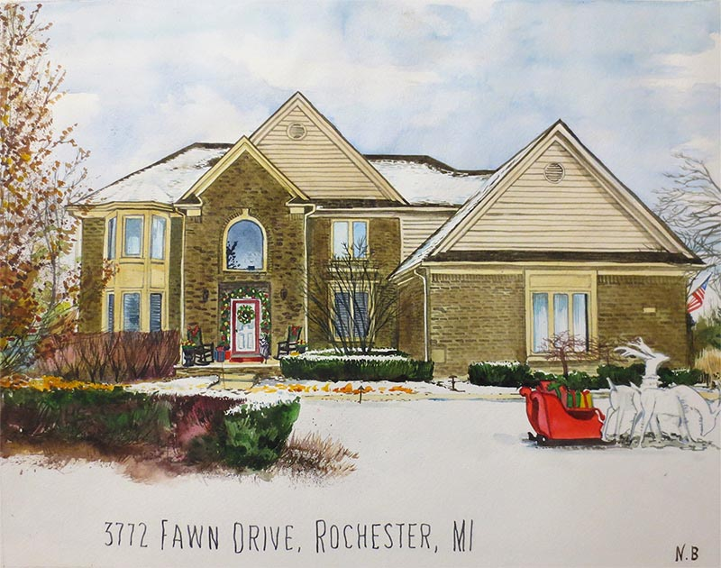 custom watercolor painting of house during Christmas time