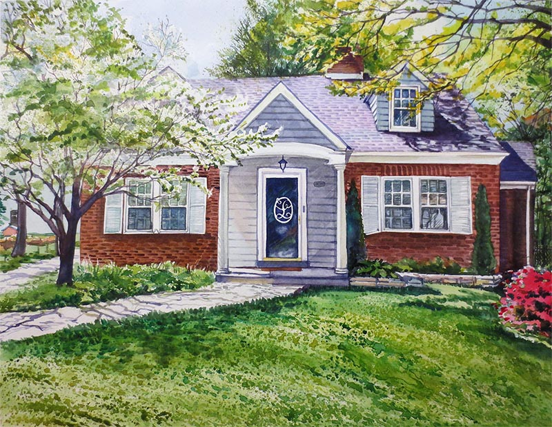 custom watercolor painting of small home