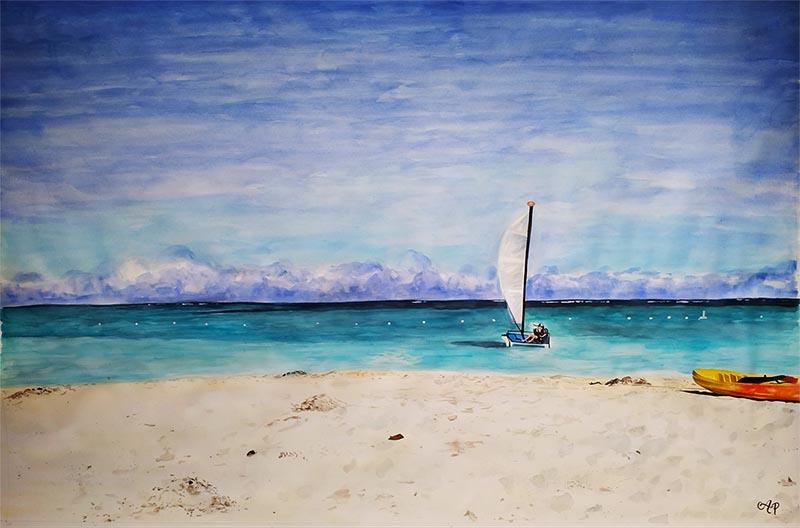 custom watercolor painting of sailing boat on shore