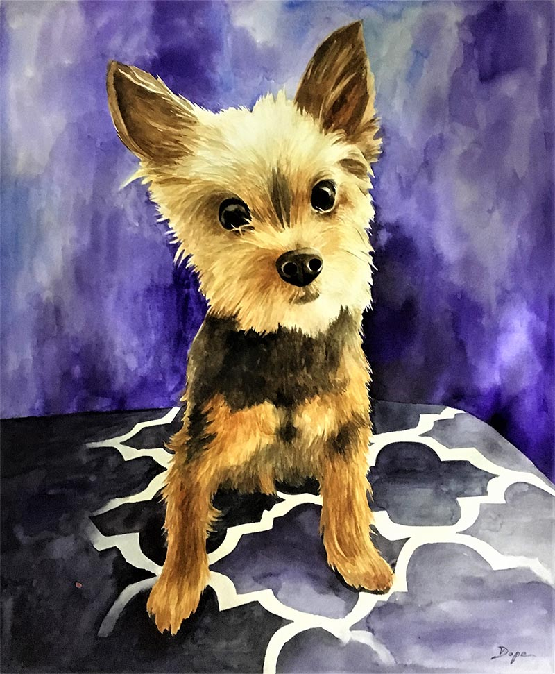 custom watercolor painting of small brown and blacck dog