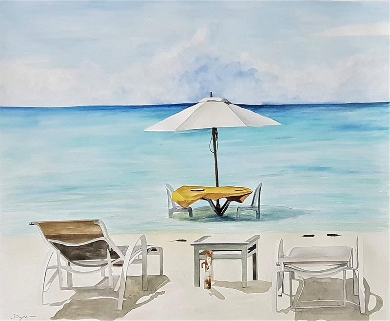 custom watercolor painting of two chairs by the beach