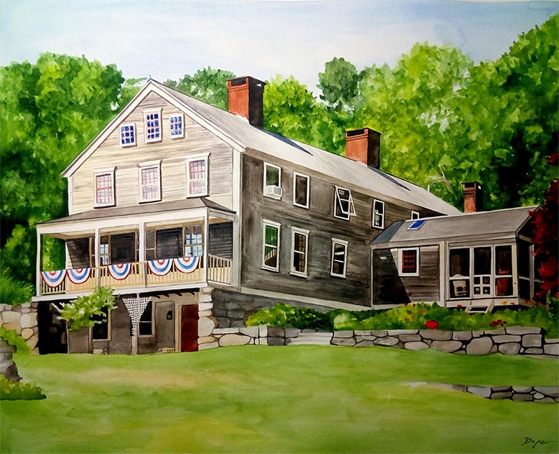 custom watercolor painting of a perfect summer house