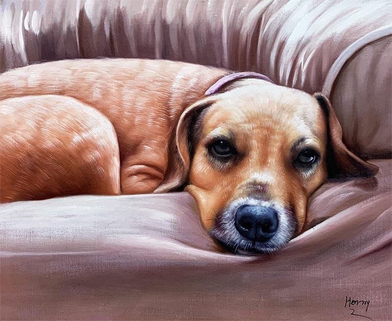 custom art sleepy cute dog