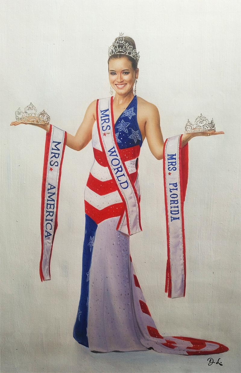 a custom oil painting of miss florida america world