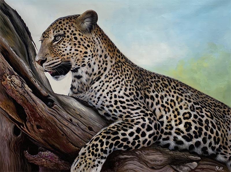 custom acrylic painting of cheetah on tree branch
