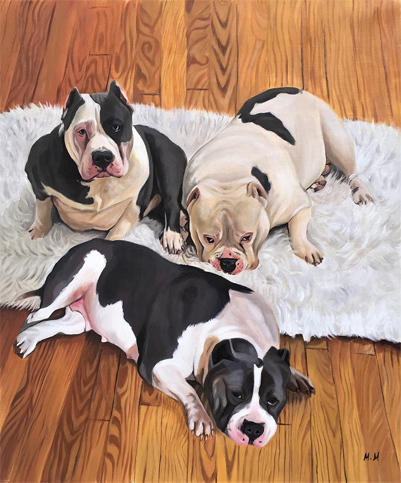an acrylic custom painting of three dogs laying on floor