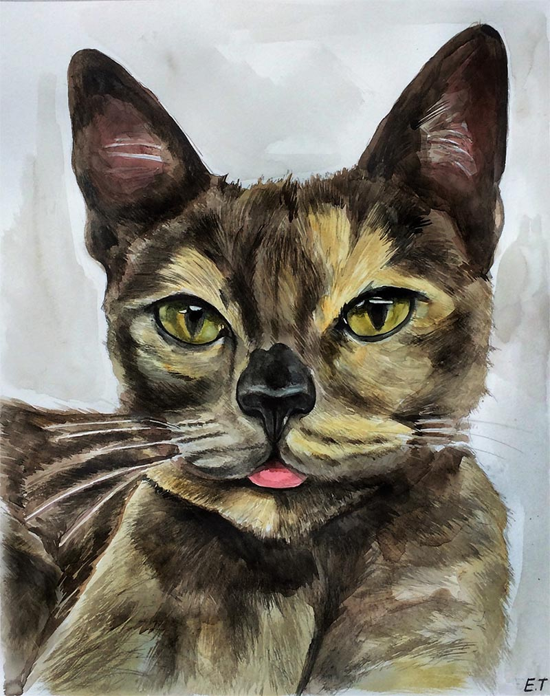 custom watercolor painting of a cat sticking tongue out