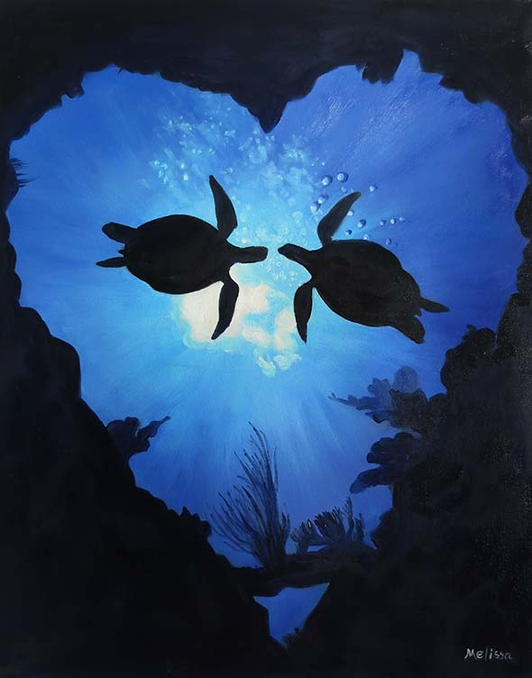 custom oil painting from picture of two turtles in love