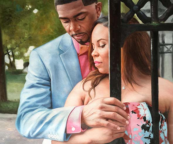 turn pictures into art elegant black couple posing outdoors
