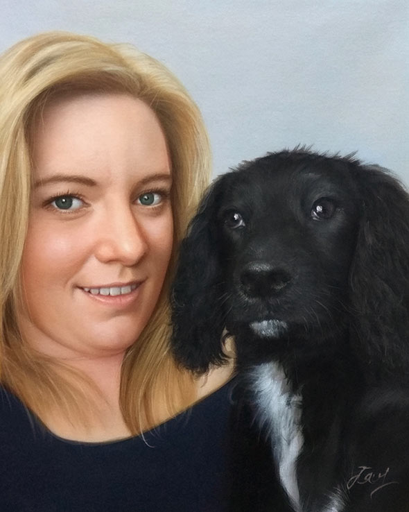 Custom oil painting of a blonde woman and black dog