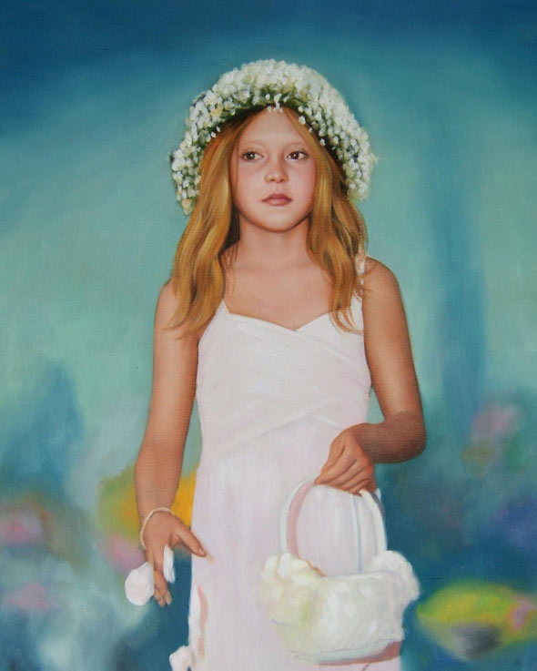 a custom oil portrait of a girl with flower crown