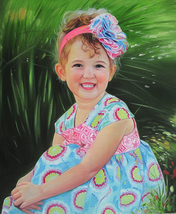 a custom oil painting of a young girl in colorful outfit