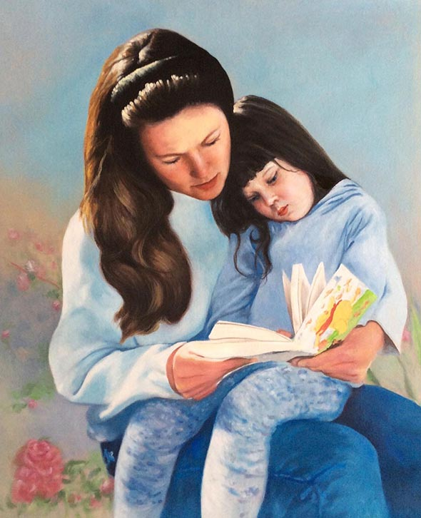 custom acrylic painting of mother and daughter reading