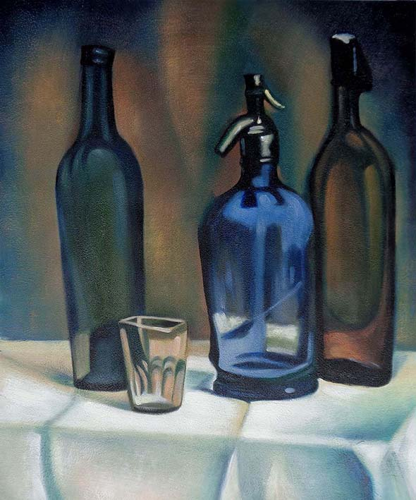 oil painting of three glass bottles