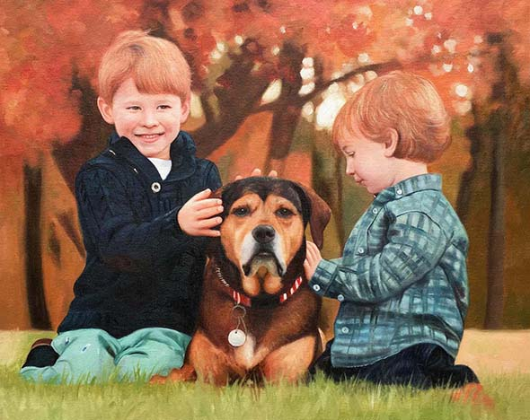 an oil portraot painting of kids and a dog in the park
