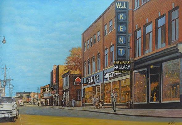 Custom oil handmade painting of a vintage street