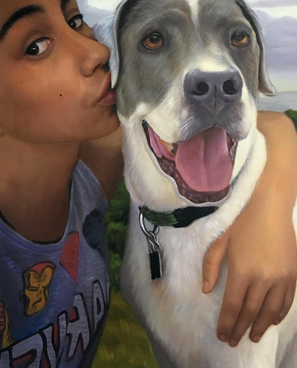 picture to painting of girl kissing dog cheek