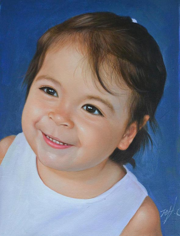 a custom oil painting of a little toddler blue background