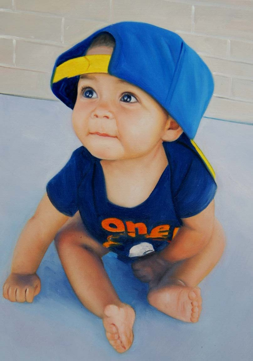 a custom oil painting of a little boy wearing a hat