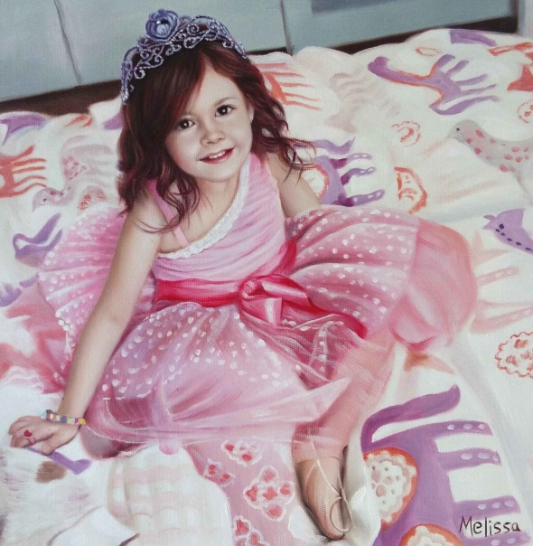 a custom oil painting of little girl in pink princess dress
