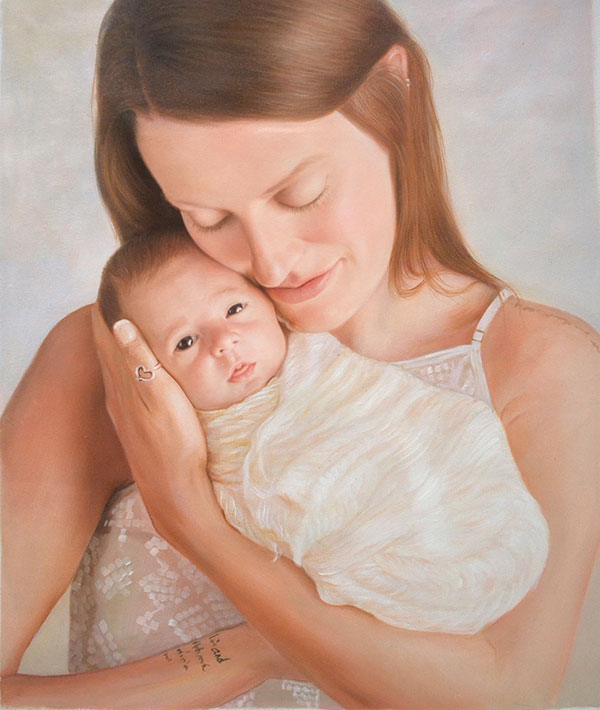 an oil painting of a mother holding a newborn